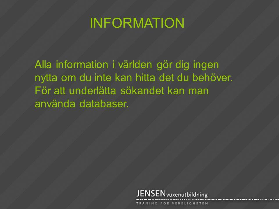 Alla information i världen gör dig ingen nytta om du inte kan hitta det du behöver. För att underlätta sökandet kan man använda databaser. INFORMATION