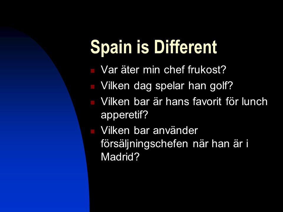 Spain is Different  Var äter min chef frukost.  Vilken dag spelar han golf.
