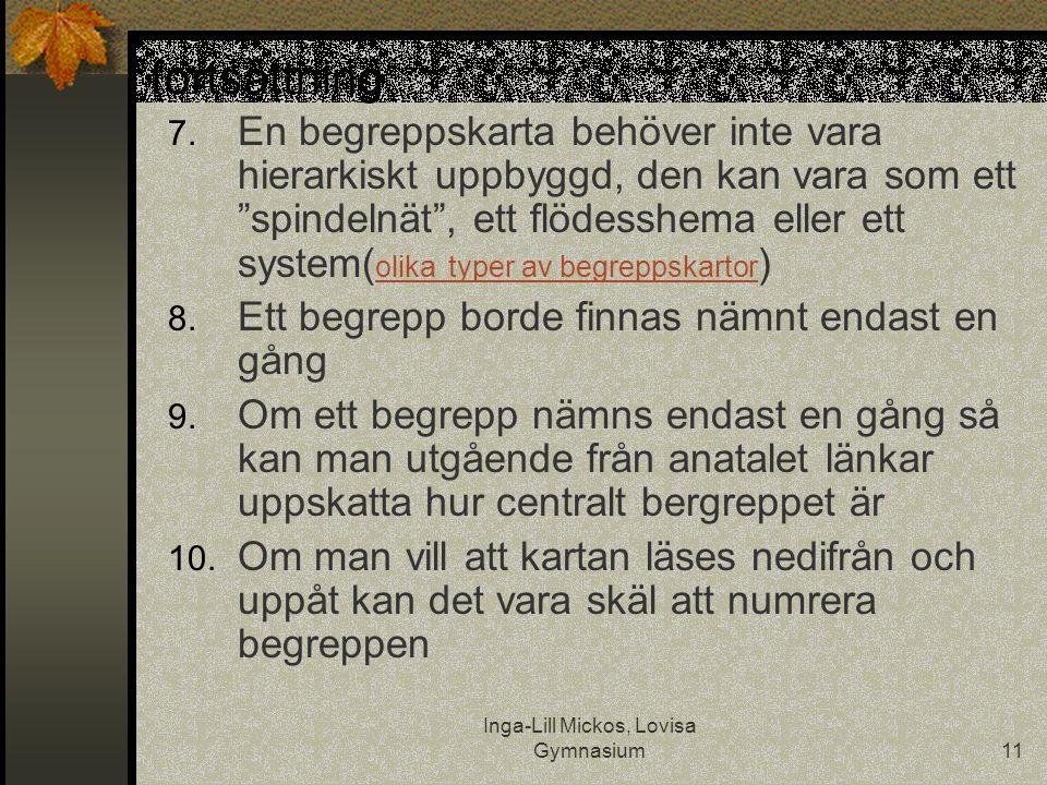 """Inga-Lill Mickos, Lovisa Gymnasium11 fortsättning 7. En begreppskarta behöver inte vara hierarkiskt uppbyggd, den kan vara som ett """"spindelnät"""", ett f"""
