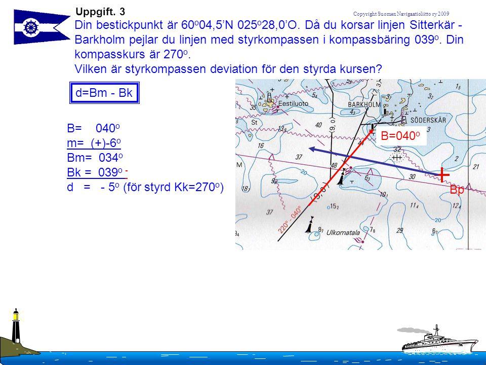 Copyright Suomen Navigaatioliitto ry 2009 Uppgift. 3 Din bestickpunkt är 60 o 04,5'N 025 o 28,0'O. Då du korsar linjen Sitterkär - Barkholm pejlar du