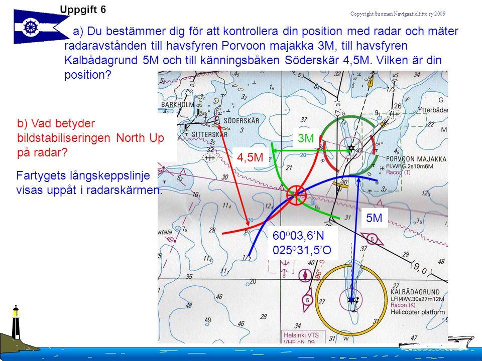 Copyright Suomen Navigaatioliitto ry 2009 Uppgift 6 a) Du bestämmer dig för att kontrollera din position med radar och mäter radaravstånden till havsf