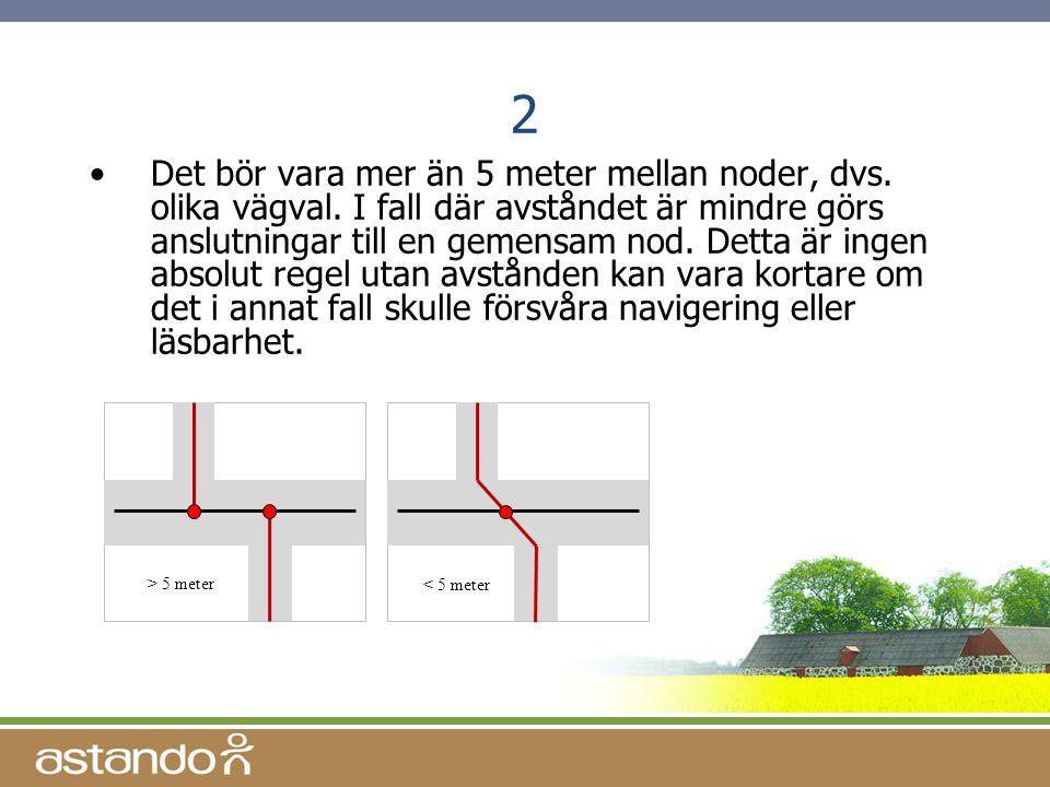 2 •Det bör vara mer än 5 meter mellan noder, dvs. olika vägval. I fall där avståndet är mindre görs anslutningar till en gemensam nod. Detta är ingen