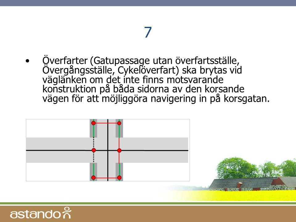 7 •Överfarter (Gatupassage utan överfartsställe, Övergångsställe, Cykelöverfart) ska brytas vid väglänken om det inte finns motsvarande konstruktion p