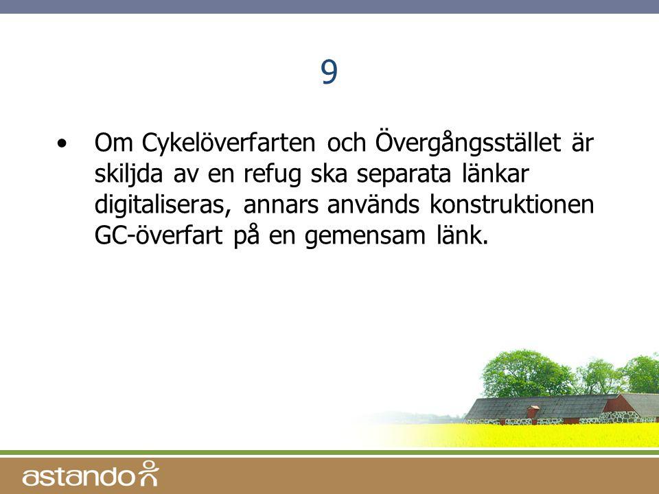 9 •Om Cykelöverfarten och Övergångsstället är skiljda av en refug ska separata länkar digitaliseras, annars används konstruktionen GC-överfart på en g