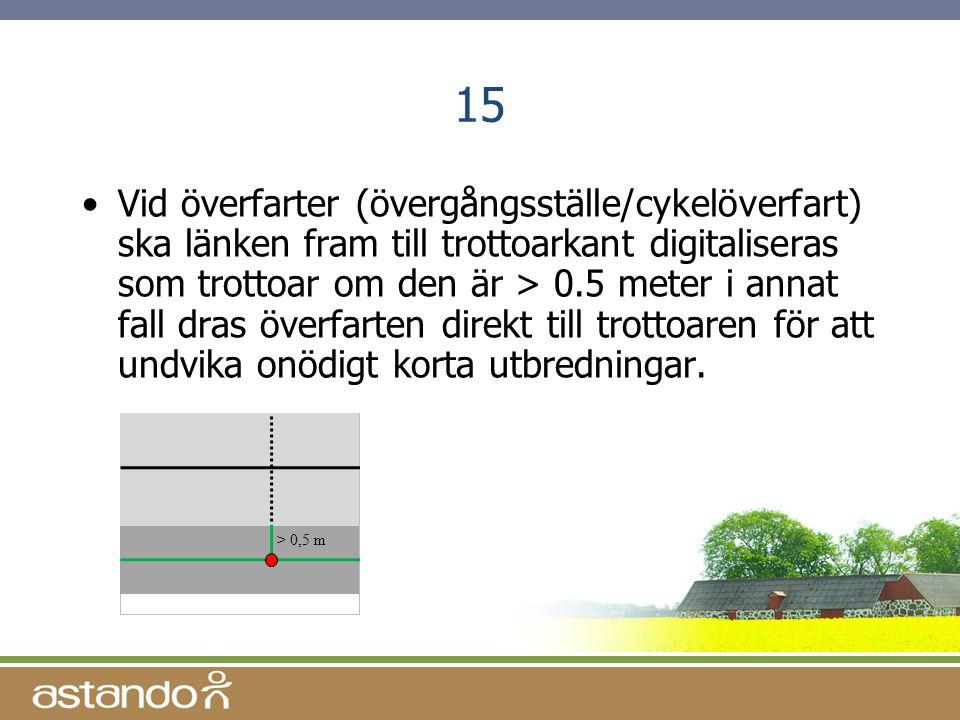 15 •Vid överfarter (övergångsställe/cykelöverfart) ska länken fram till trottoarkant digitaliseras som trottoar om den är > 0.5 meter i annat fall dra