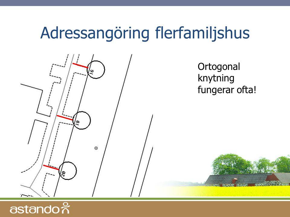 Adressangöring flerfamiljshus Ortogonal knytning fungerar ofta!