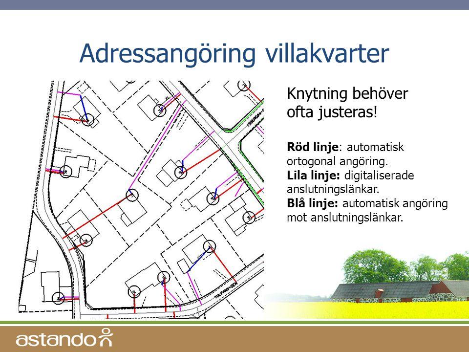 Adressangöring villakvarter Knytning behöver ofta justeras! Röd linje: automatisk ortogonal angöring. Lila linje: digitaliserade anslutningslänkar. Bl