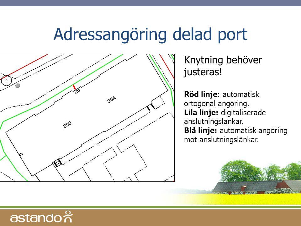 Adressangöring delad port Knytning behöver justeras! Röd linje: automatisk ortogonal angöring. Lila linje: digitaliserade anslutningslänkar. Blå linje