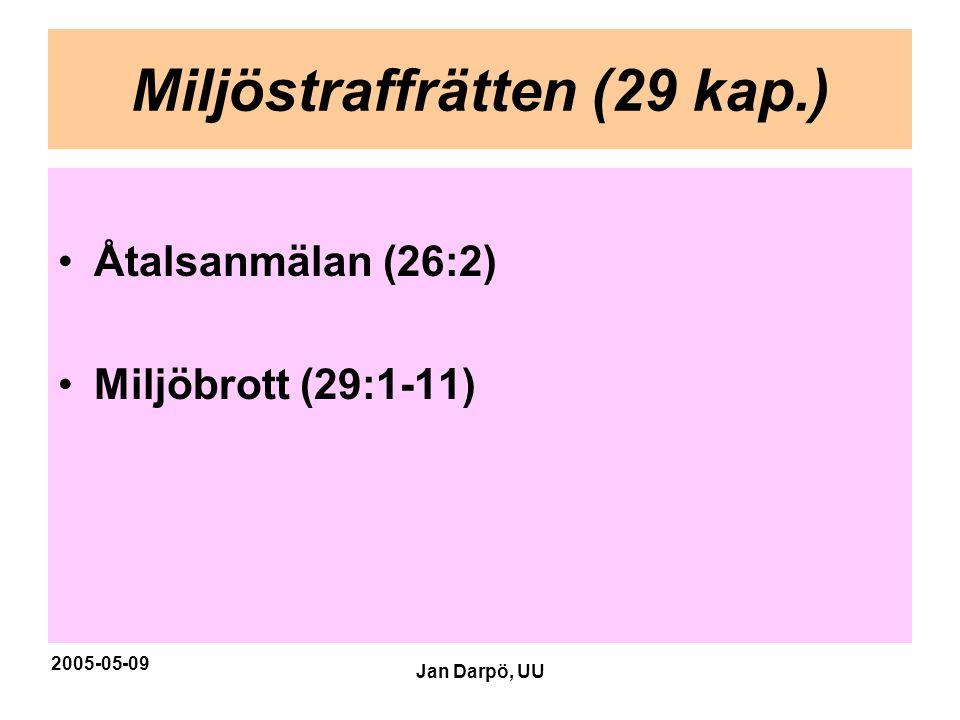 2005-05-09 Jan Darpö, UU Miljöstraffrätten (29 kap.) •Åtalsanmälan (26:2) •Miljöbrott (29:1-11)