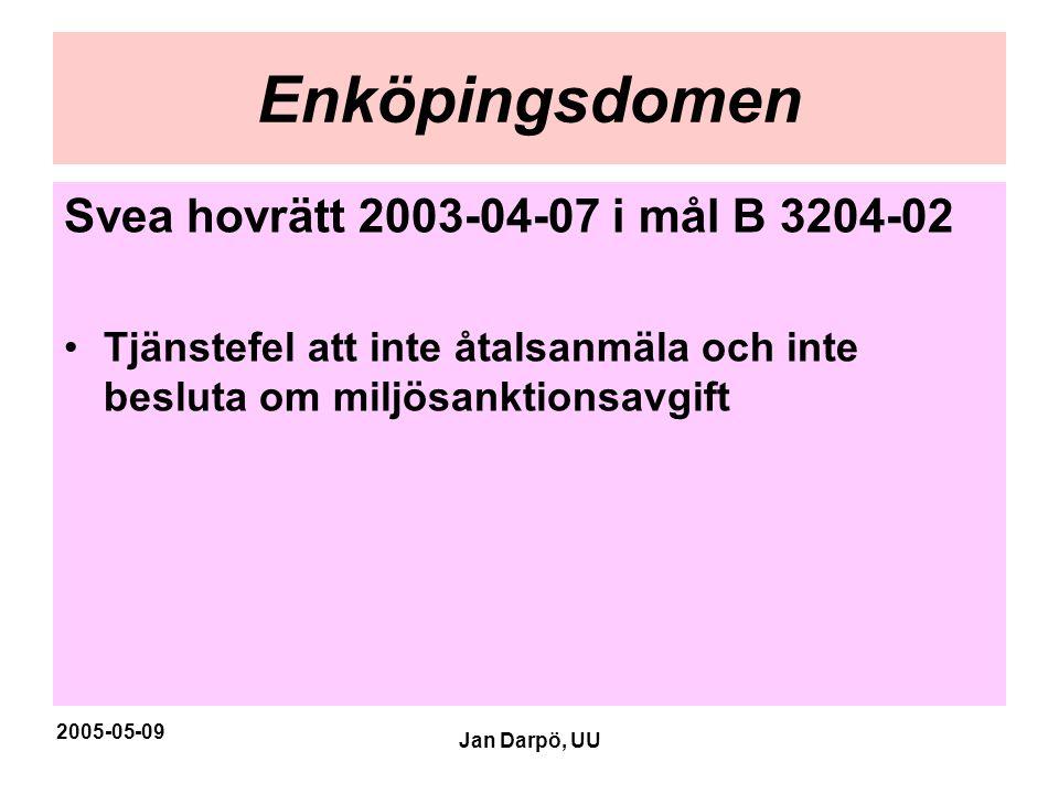 2005-05-09 Jan Darpö, UU Enköpingsdomen Svea hovrätt 2003-04-07 i mål B 3204-02 •Tjänstefel att inte åtalsanmäla och inte besluta om miljösanktionsavg