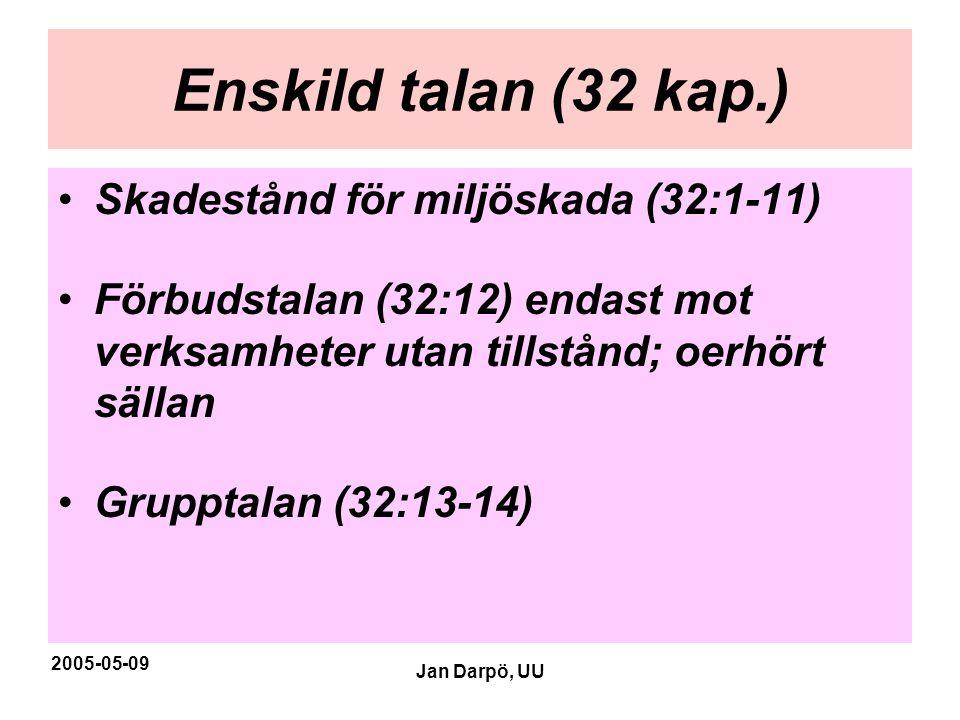 2005-05-09 Jan Darpö, UU Enskild talan (32 kap.) •Skadestånd för miljöskada (32:1-11) •Förbudstalan (32:12) endast mot verksamheter utan tillstånd; oe