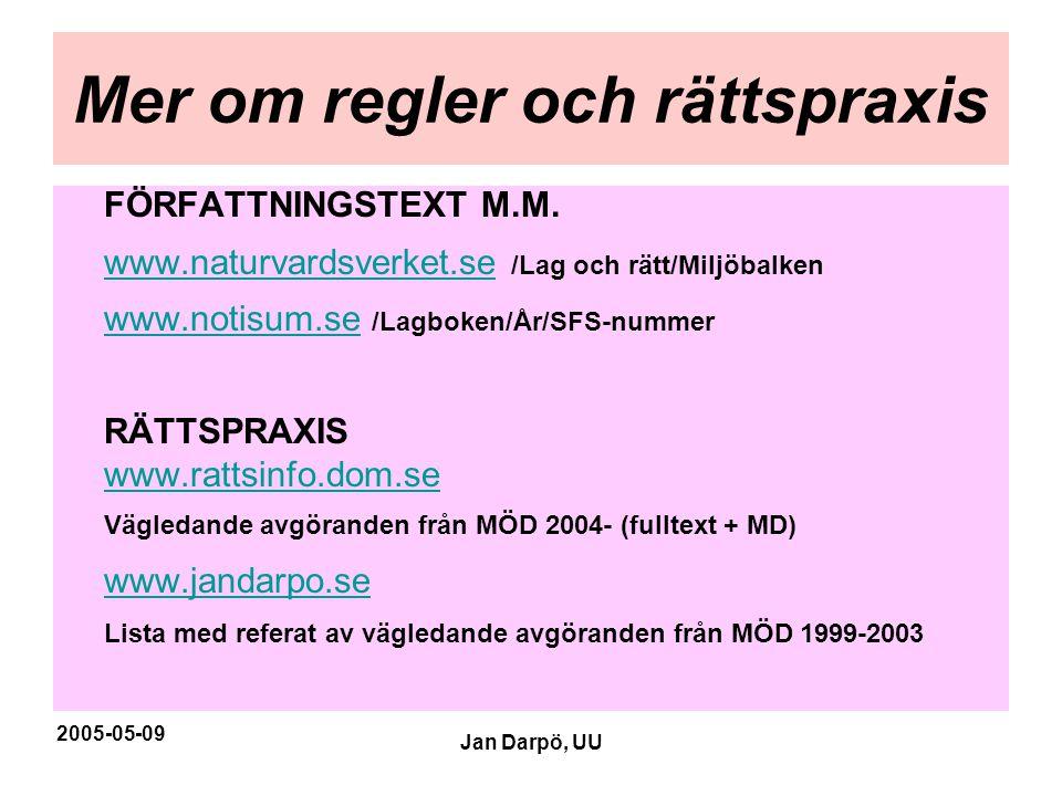 2005-05-09 Jan Darpö, UU Mer om regler och rättspraxis FÖRFATTNINGSTEXT M.M. www.naturvardsverket.sewww.naturvardsverket.se /Lag och rätt/Miljöbalken