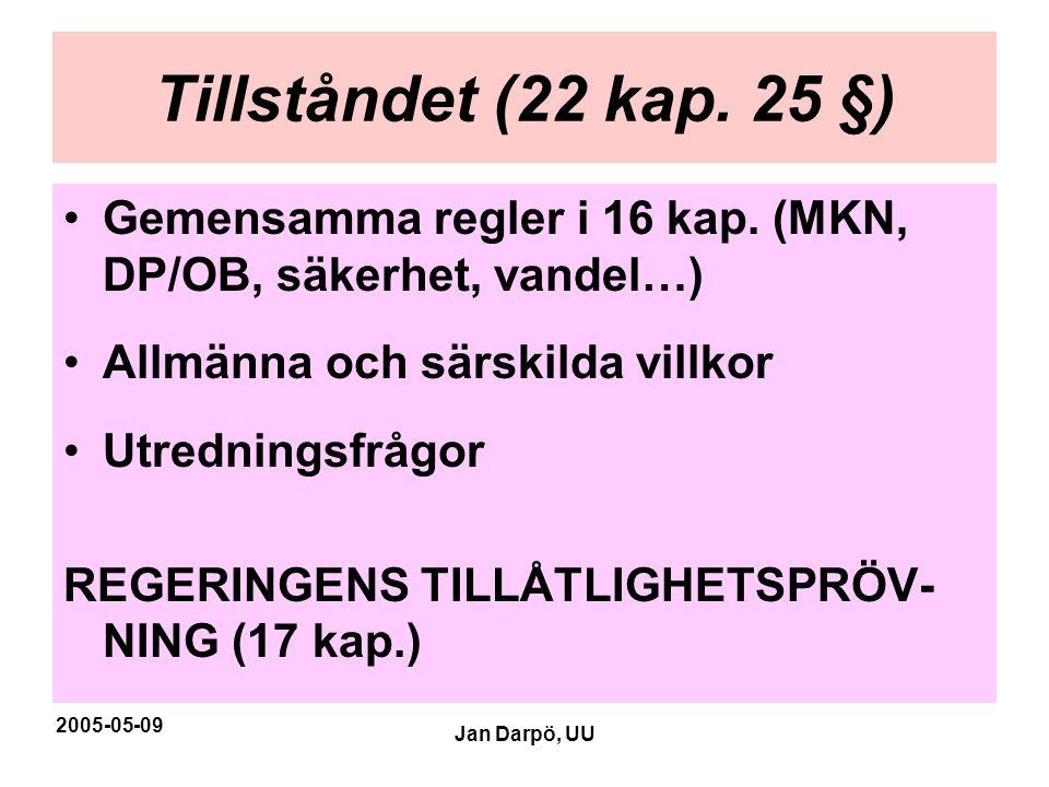 2005-05-09 Jan Darpö, UU Tillståndet (22 kap. 25 §) •Gemensamma regler i 16 kap. (MKN, DP/OB, säkerhet, vandel…) •Allmänna och särskilda villkor •Utre