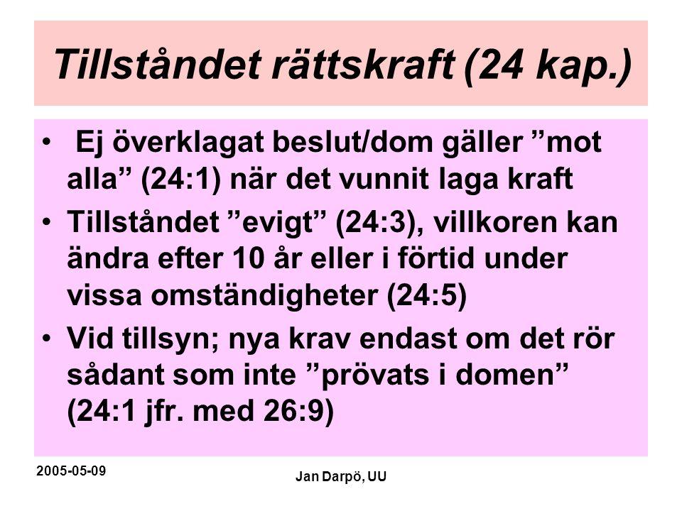 """2005-05-09 Jan Darpö, UU Tillståndet rättskraft (24 kap.) • Ej överklagat beslut/dom gäller """"mot alla"""" (24:1) när det vunnit laga kraft •Tillståndet """""""