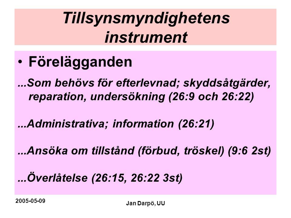2005-05-09 Jan Darpö, UU Tillsynsmyndighetens instrument •Förelägganden...Som behövs för efterlevnad; skyddsåtgärder, reparation, undersökning (26:9 o