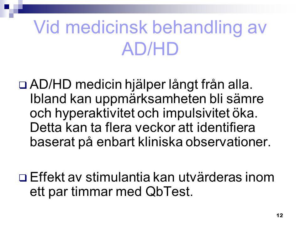 12 Vid medicinsk behandling av AD/HD  AD/HD medicin hjälper långt från alla. Ibland kan uppmärksamheten bli sämre och hyperaktivitet och impulsivitet