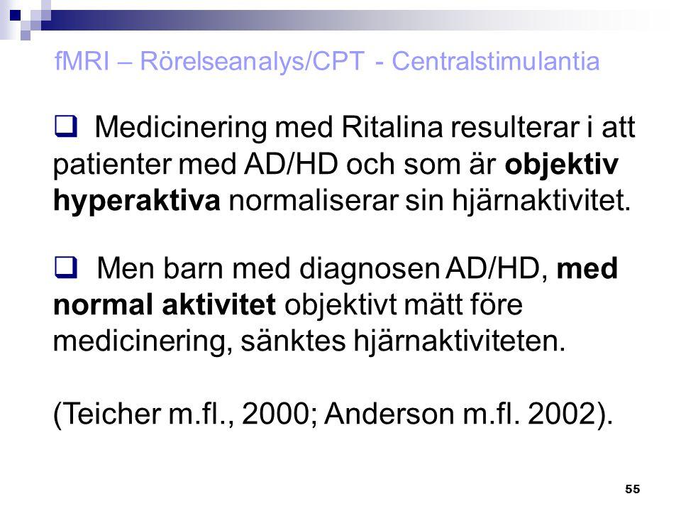 55  Medicinering med Ritalina resulterar i att patienter med AD/HD och som är objektiv hyperaktiva normaliserar sin hjärnaktivitet.  Men barn med di
