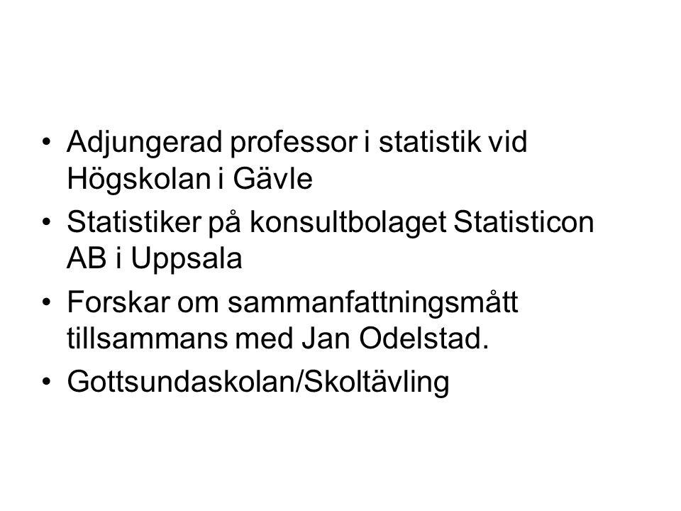 •Adjungerad professor i statistik vid Högskolan i Gävle •Statistiker på konsultbolaget Statisticon AB i Uppsala •Forskar om sammanfattningsmått tillsammans med Jan Odelstad.