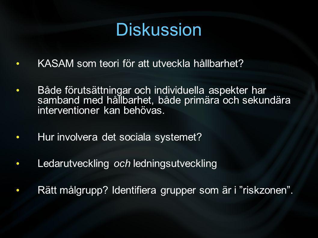 Diskussion • KASAM som teori för att utveckla hållbarhet.