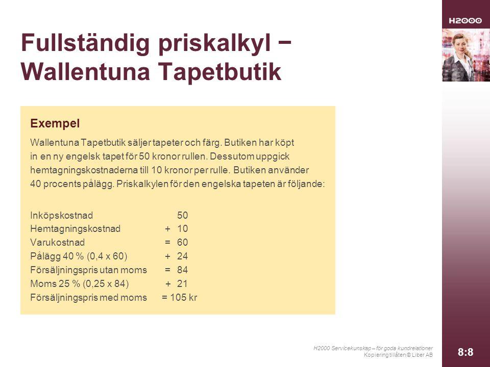 H2000 Servicekunskap – för goda kundrelationer Kopiering tillåten © Liber AB 8:8 Fullständig priskalkyl − Wallentuna Tapetbutik Exempel Wallentuna Tapetbutik säljer tapeter och färg.