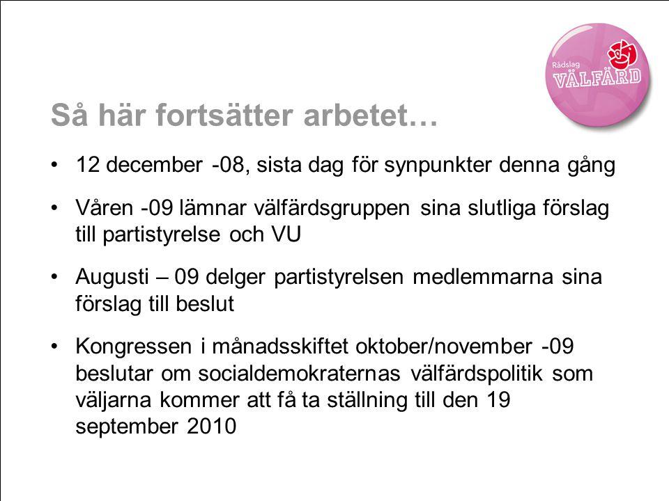 Så här fortsätter arbetet… •12 december -08, sista dag för synpunkter denna gång •Våren -09 lämnar välfärdsgruppen sina slutliga förslag till partisty