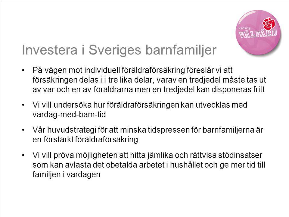 Investera i Sveriges barnfamiljer •På vägen mot individuell föräldraförsäkring föreslår vi att försäkringen delas i i tre lika delar, varav en tredjed