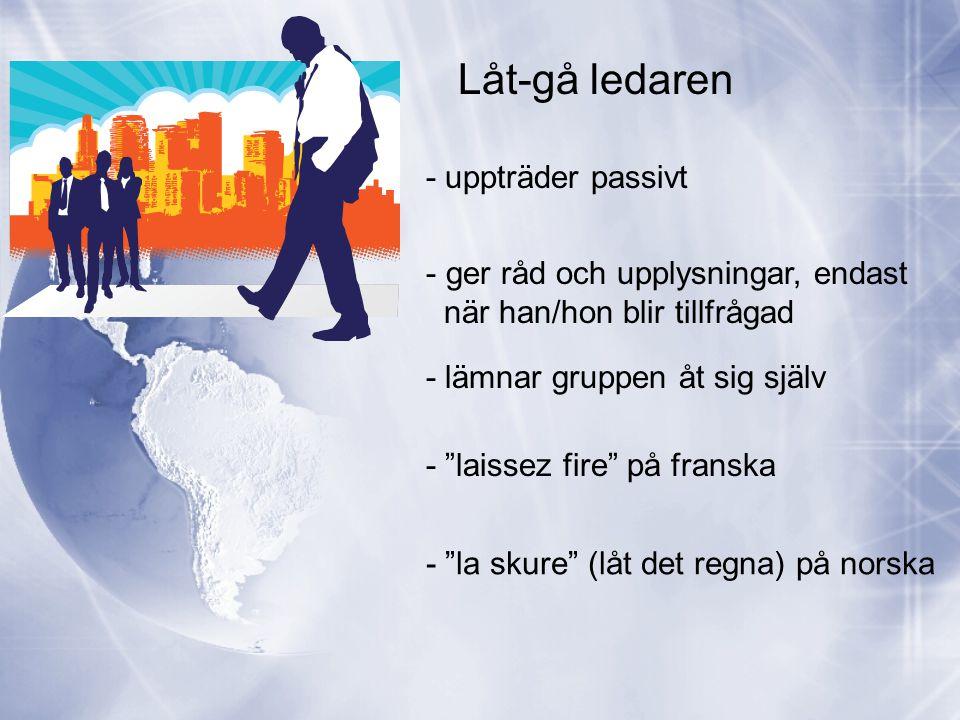 Låt-gå ledaren - uppträder passivt - ger råd och upplysningar, endast när han/hon blir tillfrågad - lämnar gruppen åt sig själv - laissez fire på franska - la skure (låt det regna) på norska