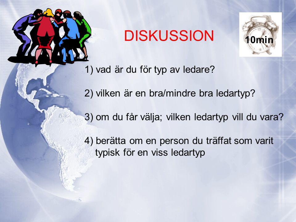 DISKUSSION 1) vad är du för typ av ledare? 2) vilken är en bra/mindre bra ledartyp? 3) om du får välja; vilken ledartyp vill du vara? 4) berätta om en