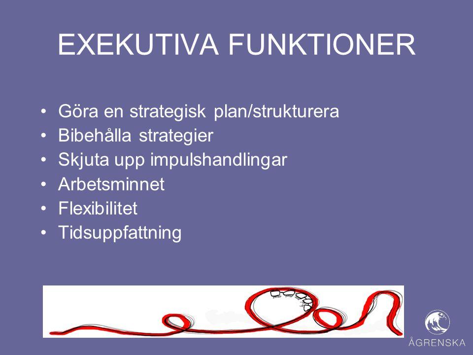 EXEKUTIVA FUNKTIONER •Göra en strategisk plan/strukturera •Bibehålla strategier •Skjuta upp impulshandlingar •Arbetsminnet •Flexibilitet •Tidsuppfattn