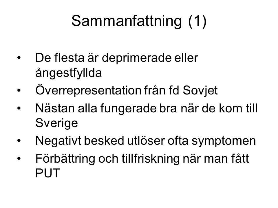 Sammanfattning (1) •De flesta är deprimerade eller ångestfyllda •Överrepresentation från fd Sovjet •Nästan alla fungerade bra när de kom till Sverige