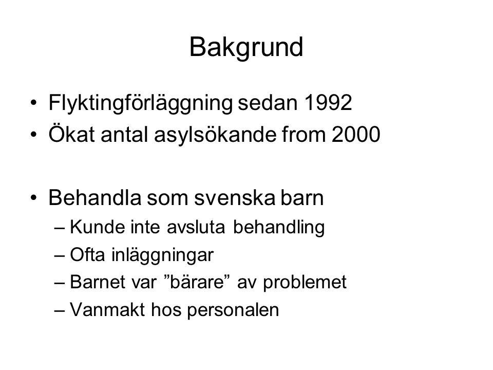 Bakgrund •Flyktingförläggning sedan 1992 •Ökat antal asylsökande from 2000 •Behandla som svenska barn –Kunde inte avsluta behandling –Ofta inläggninga
