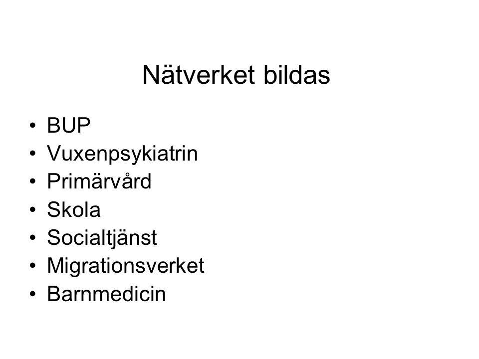 Nätverket bildas •BUP •Vuxenpsykiatrin •Primärvård •Skola •Socialtjänst •Migrationsverket •Barnmedicin