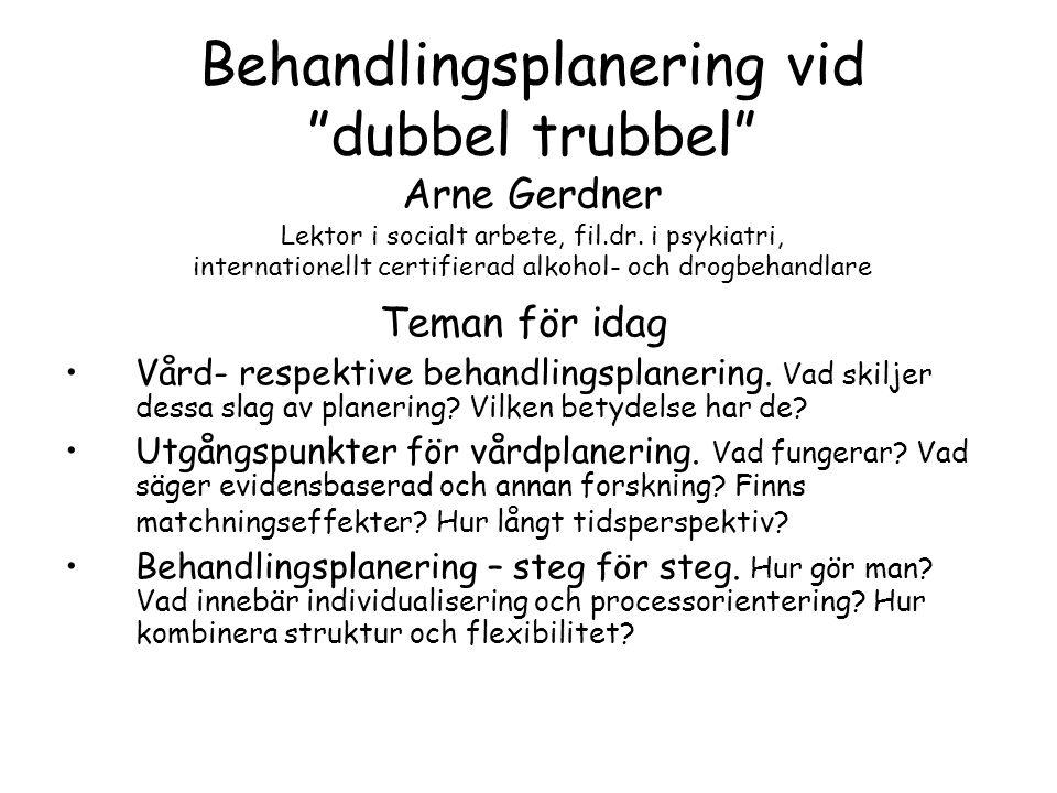 Behandlingsplanering vid dubbel trubbel Arne Gerdner Lektor i socialt arbete, fil.dr.