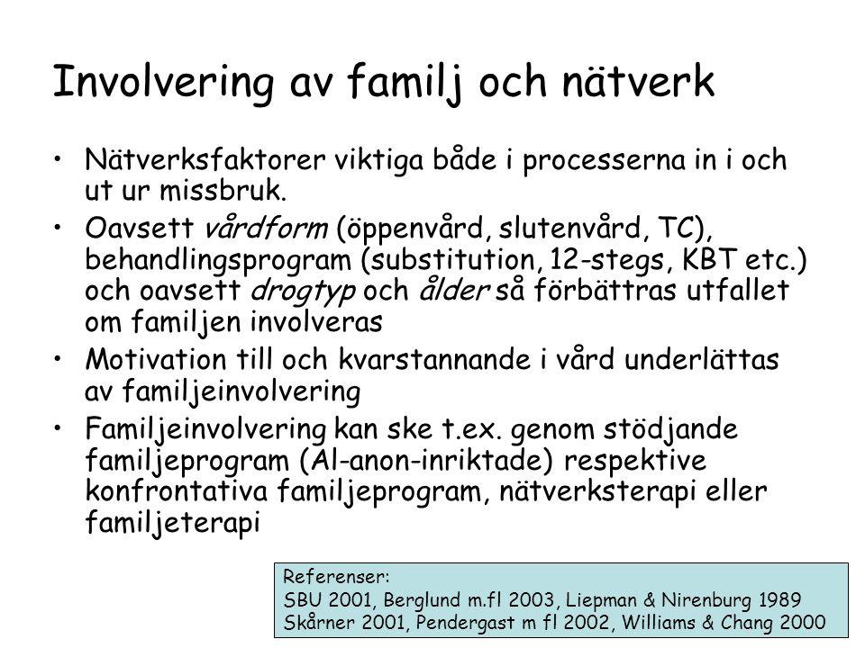 Involvering av familj och nätverk •Nätverksfaktorer viktiga både i processerna in i och ut ur missbruk.