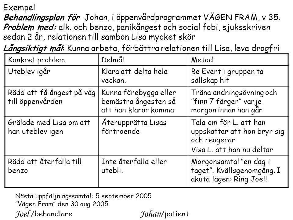 Exempel Behandlingsplan för Johan, i öppenvårdprogrammet VÄGEN FRAM, v 35.