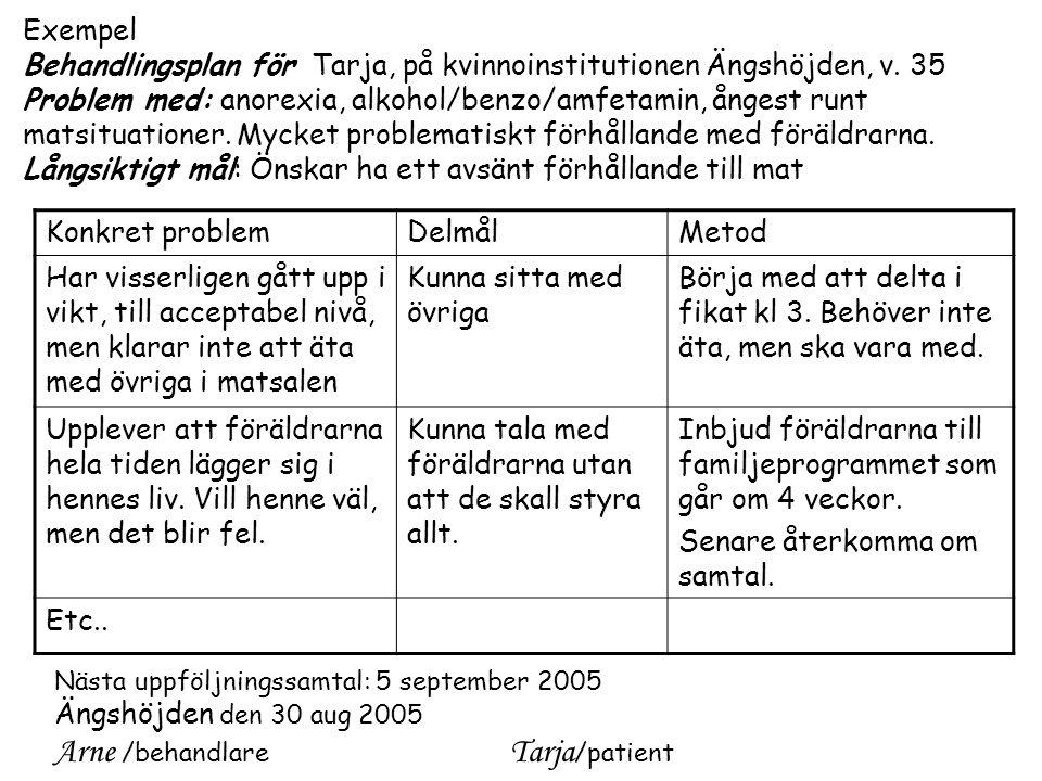 Exempel Behandlingsplan för Tarja, på kvinnoinstitutionen Ängshöjden, v.