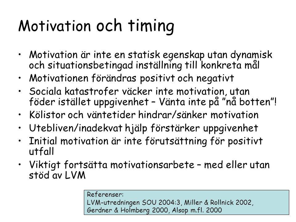 Motivation och timing •Motivation är inte en statisk egenskap utan dynamisk och situationsbetingad inställning till konkreta mål •Motivationen förändras positivt och negativt •Sociala katastrofer väcker inte motivation, utan föder istället uppgivenhet – Vänta inte på nå botten .