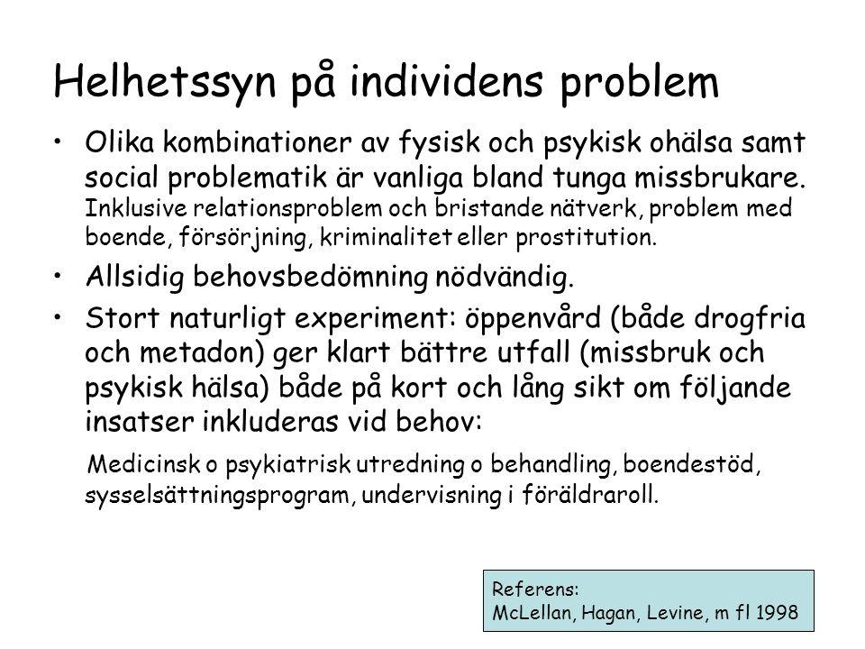 Helhetssyn på individens problem •Olika kombinationer av fysisk och psykisk ohälsa samt social problematik är vanliga bland tunga missbrukare.