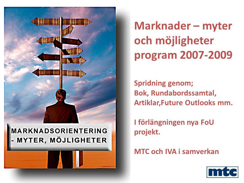 Marknader – myter och möjligheter program 2007-2009 Spridning genom; Bok, Rundabordssamtal, Artiklar,Future Outlooks mm.