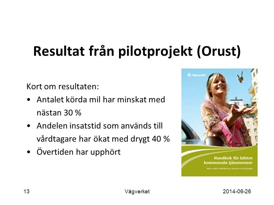 13Vägverket2014-06-26 Resultat från pilotprojekt (Orust) Kort om resultaten: •Antalet körda mil har minskat med nästan 30 % •Andelen insatstid som används till vårdtagare har ökat med drygt 40 % •Övertiden har upphört