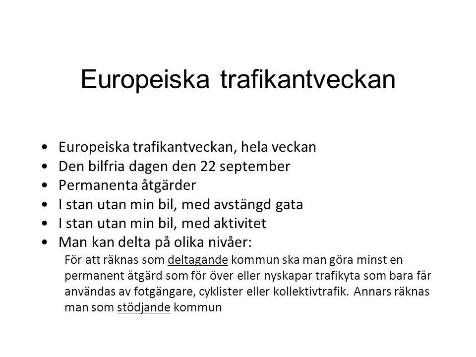 Europeiska trafikantveckan •Europeiska trafikantveckan, hela veckan •Den bilfria dagen den 22 september •Permanenta åtgärder •I stan utan min bil, med