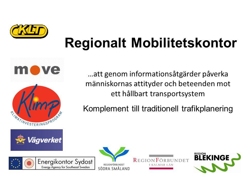 Regionalt Mobilitetskontor …att genom informationsåtgärder påverka människornas attityder och beteenden mot ett hållbart transportsystem Komplement till traditionell trafikplanering