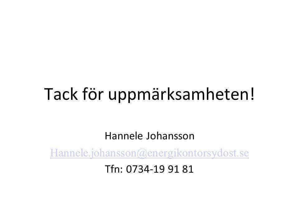 Tack för uppmärksamheten! Hannele Johansson Hannele.johansson@energikontorsydost.se Tfn: 0734-19 91 81
