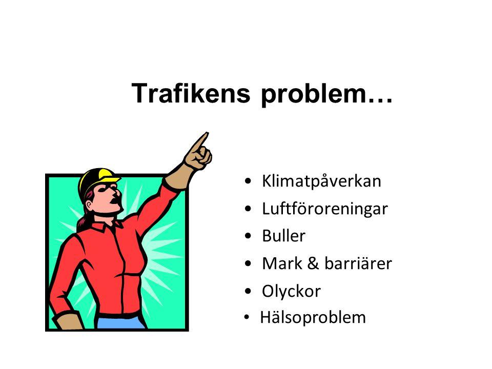 Trafikens problem… •Klimatpåverkan •Luftföroreningar •Buller •Mark & barriärer •Olyckor • Hälsoproblem