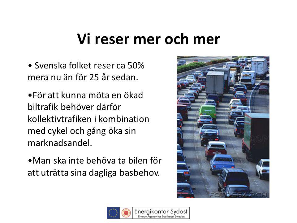 Vi reser mer och mer • Svenska folket reser ca 50% mera nu än för 25 år sedan. •För att kunna möta en ökad biltrafik behöver därför kollektivtrafiken
