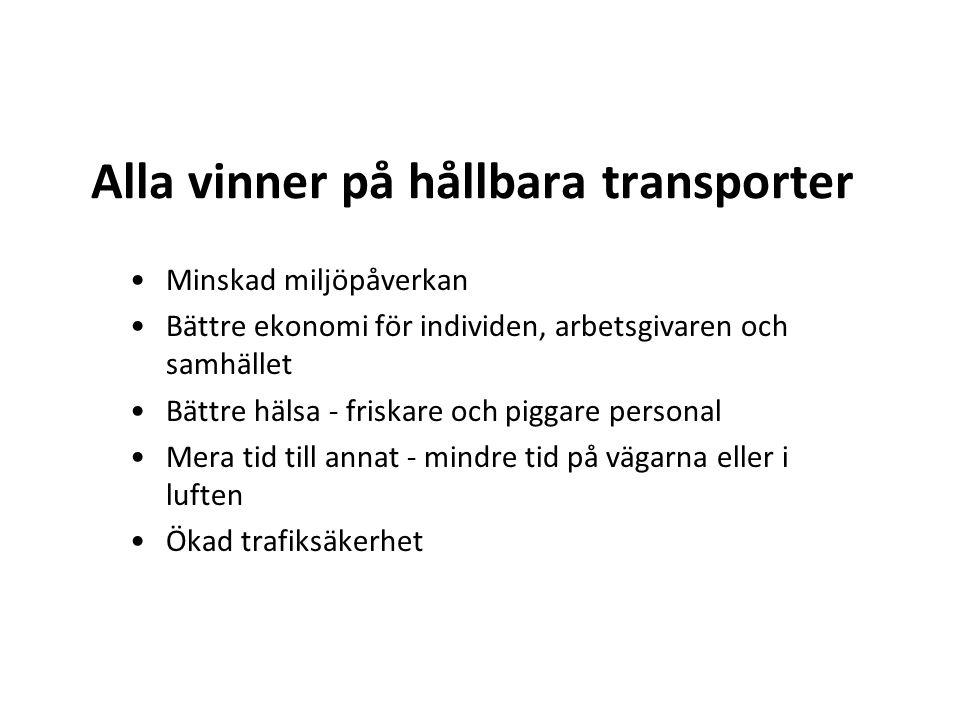 Alla vinner på hållbara transporter •Minskad miljöpåverkan •Bättre ekonomi för individen, arbetsgivaren och samhället •Bättre hälsa - friskare och pig