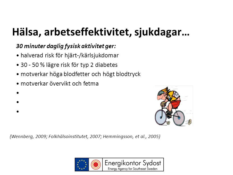 Hälsa, arbetseffektivitet, sjukdagar… 30 minuter daglig fysisk aktivitet ger: • halverad risk för hjärt-/kärlsjukdomar • 30 - 50 % lägre risk för typ 2 diabetes • motverkar höga blodfetter och högt blodtryck • motverkar övervikt och fetma • (Wennberg, 2009; Folkhälsoinstitutet, 2007; Hemmingsson, et al., 2005)