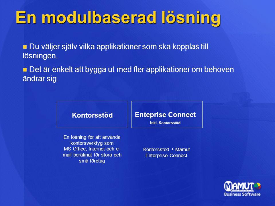 En modulbaserad lösning   Du väljer själv vilka applikationer som ska kopplas till lösningen.   Det är enkelt att bygga ut med fler applikationer