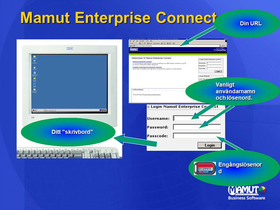 """Mamut Enterprise Connect Ditt """"skrivbord"""" Engångslösenor d Vanligt användarnamn och lösenord. Din URL"""