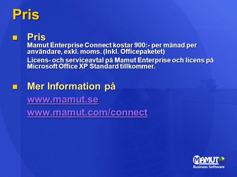 Pris  Pris Mamut Enterprise Connect kostar 900:- per månad per användare, exkl. moms. (Inkl. Officepaketet) Licens- och serviceavtal på Mamut Enterpr